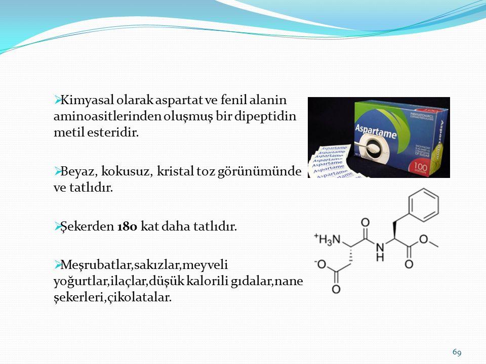 Kimyasal olarak aspartat ve fenil alanin aminoasitlerinden oluşmuş bir dipeptidin metil esteridir.