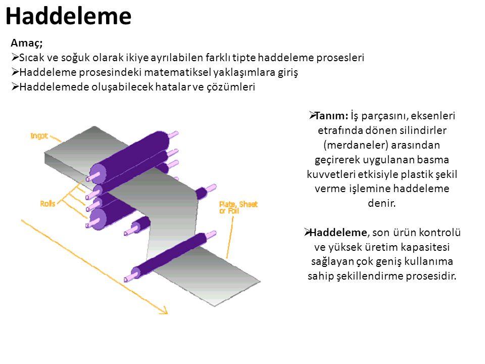 Haddeleme Amaç; Sıcak ve soğuk olarak ikiye ayrılabilen farklı tipte haddeleme prosesleri. Haddeleme prosesindeki matematiksel yaklaşımlara giriş.