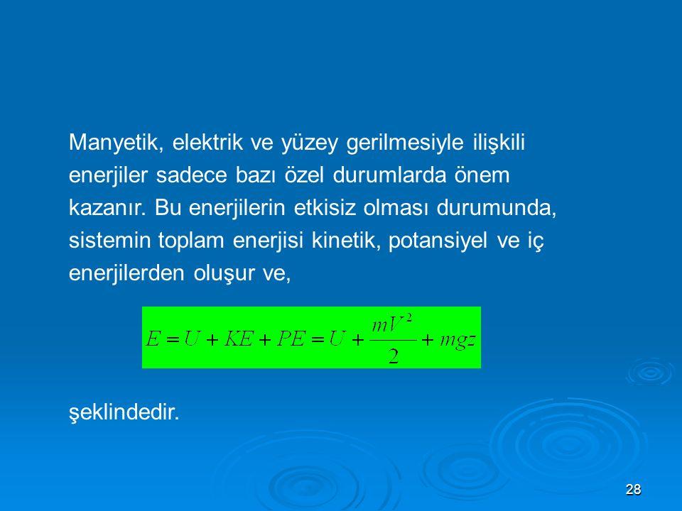 Manyetik, elektrik ve yüzey gerilmesiyle ilişkili enerjiler sadece bazı özel durumlarda önem kazanır. Bu enerjilerin etkisiz olması durumunda, sistemin toplam enerjisi kinetik, potansiyel ve iç enerjilerden oluşur ve,