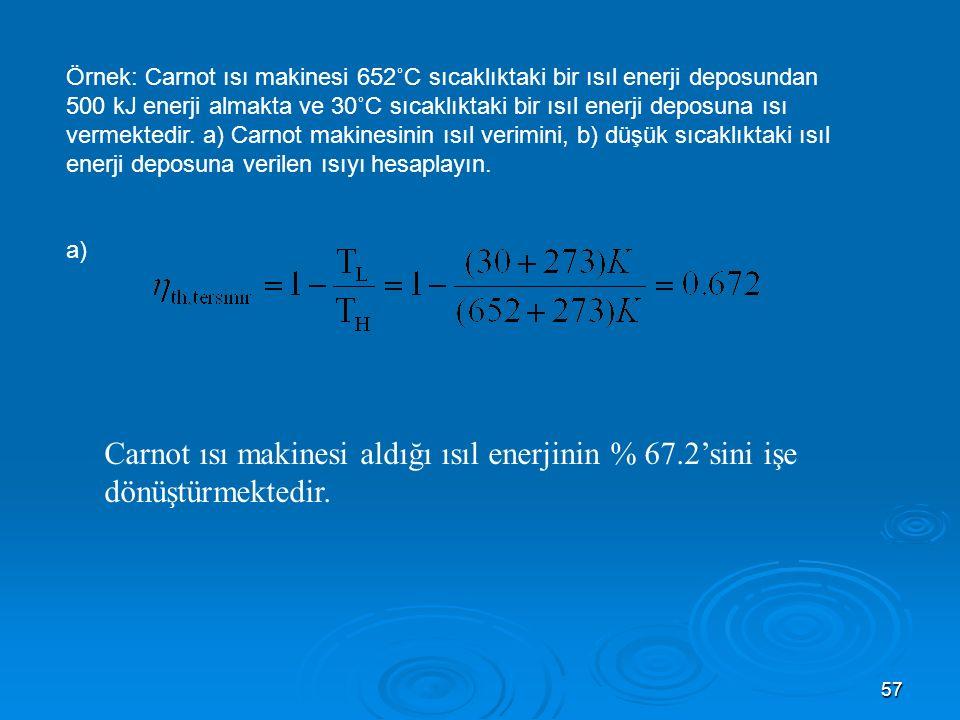 Örnek: Carnot ısı makinesi 652˚C sıcaklıktaki bir ısıl enerji deposundan 500 kJ enerji almakta ve 30˚C sıcaklıktaki bir ısıl enerji deposuna ısı vermektedir. a) Carnot makinesinin ısıl verimini, b) düşük sıcaklıktaki ısıl enerji deposuna verilen ısıyı hesaplayın.