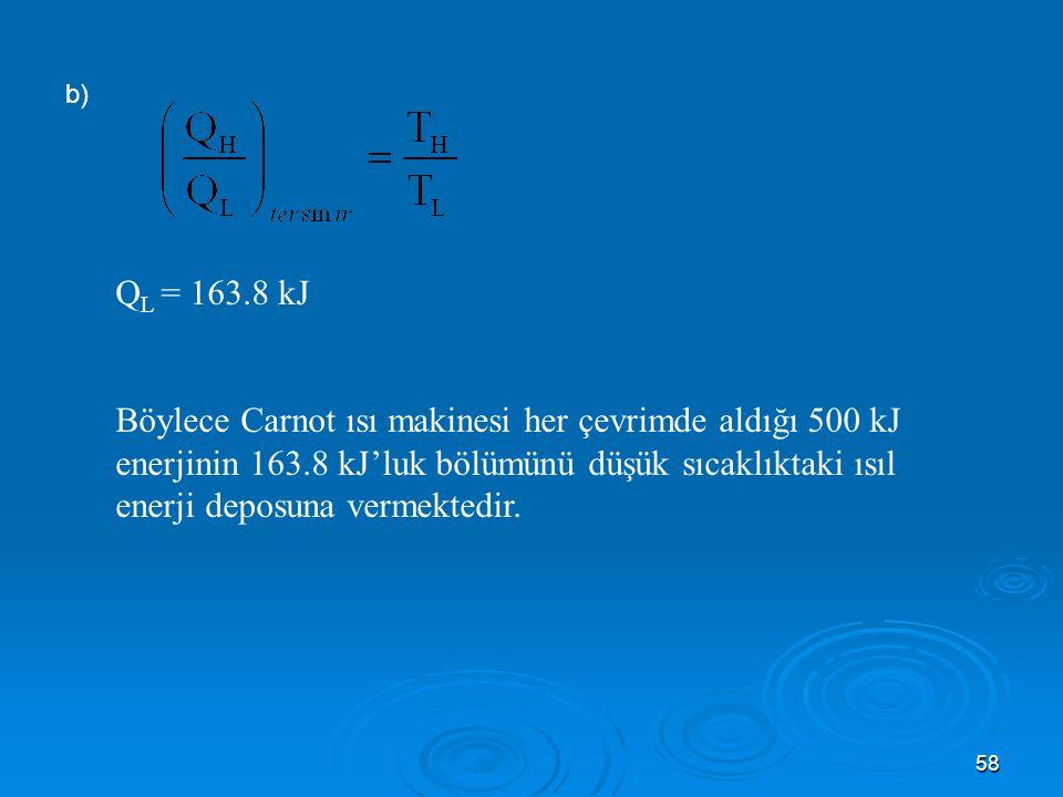 b) QL = 163.8 kJ.