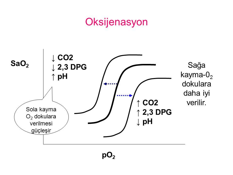 Oksijenasyon ↓ CO2 ↓ 2,3 DPG SaO2