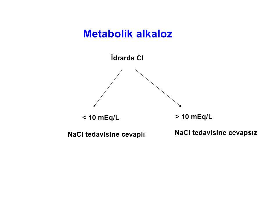 Metabolik alkaloz İdrarda Cl < 10 mEq/L > 10 mEq/L
