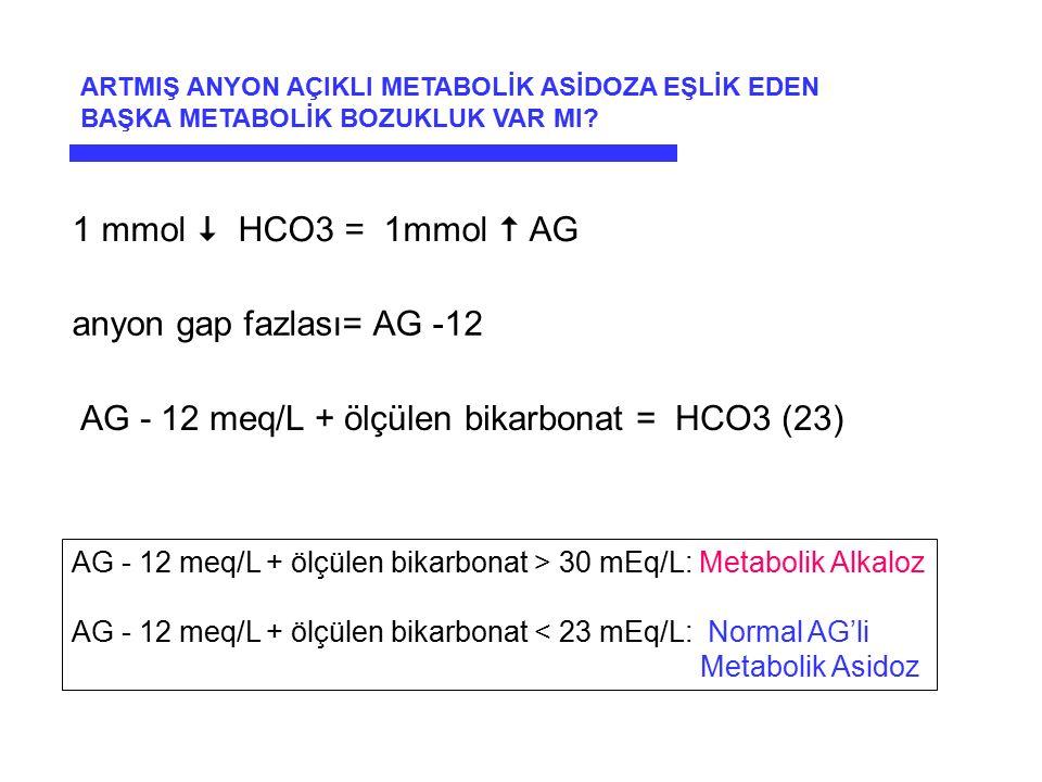 AG - 12 meq/L + ölçülen bikarbonat = HCO3 (23)