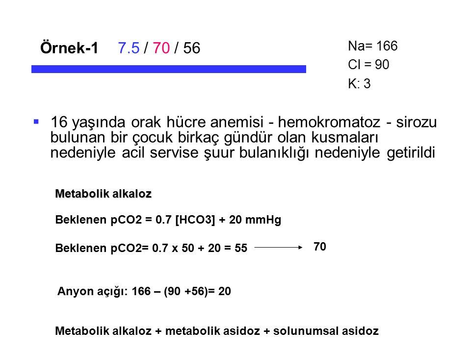 Örnek-1 7.5 / 70 / 56. Na= 166. Cl = 90. K: 3.