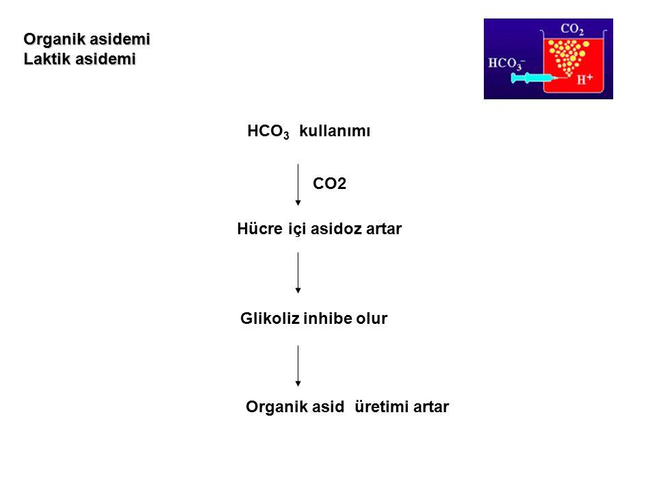 Organik asidemi Laktik asidemi. HCO3 kullanımı. CO2. Hücre içi asidoz artar. Glikoliz inhibe olur.