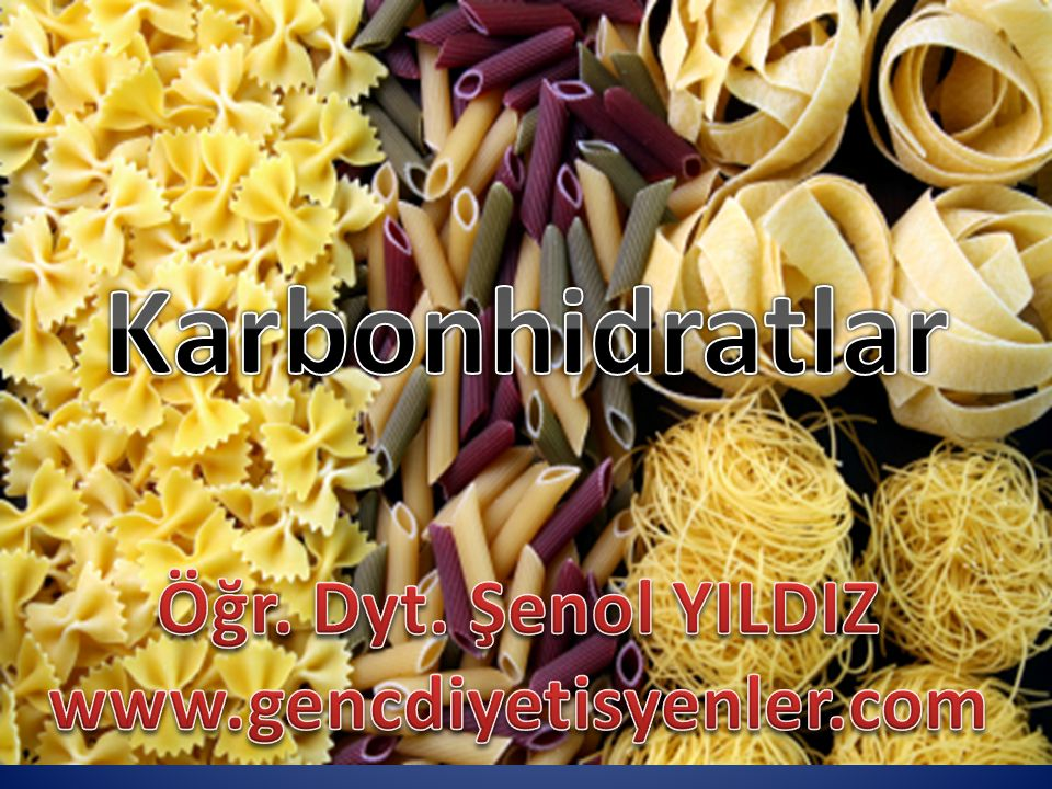 Karbonhidratlar Öğr. Dyt. Şenol YILDIZ www.gencdiyetisyenler.com