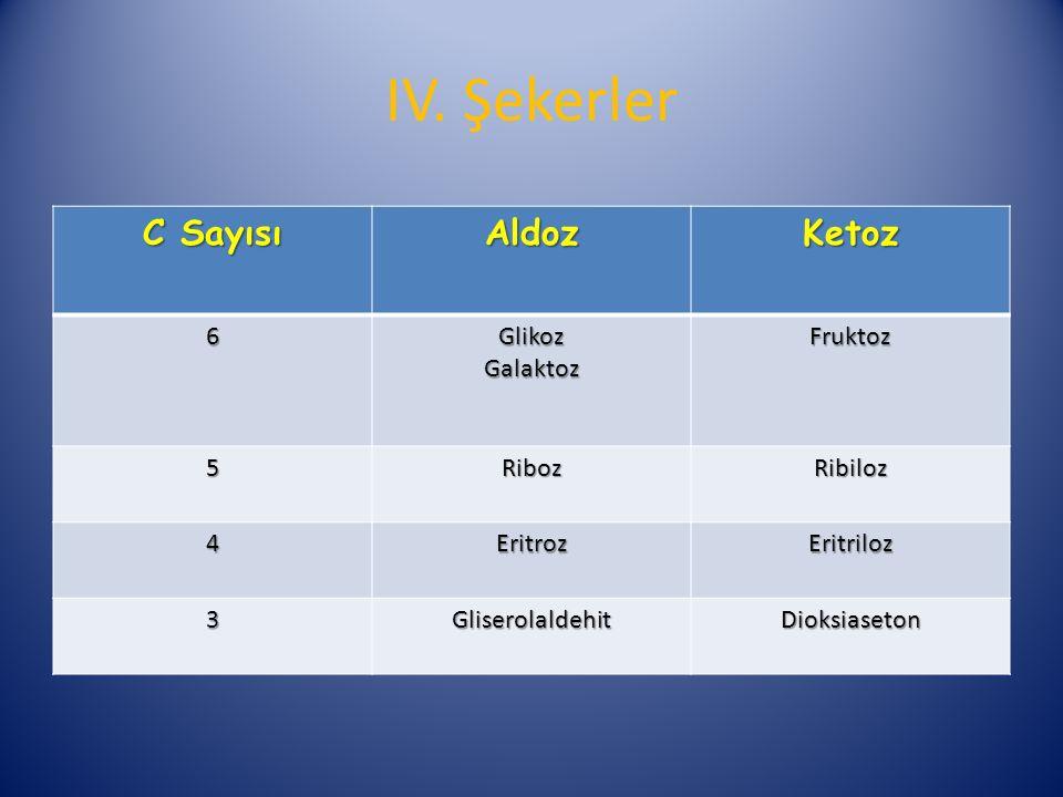 IV. Şekerler C Sayısı Aldoz Ketoz 6 Glikoz Galaktoz Fruktoz 5 Riboz