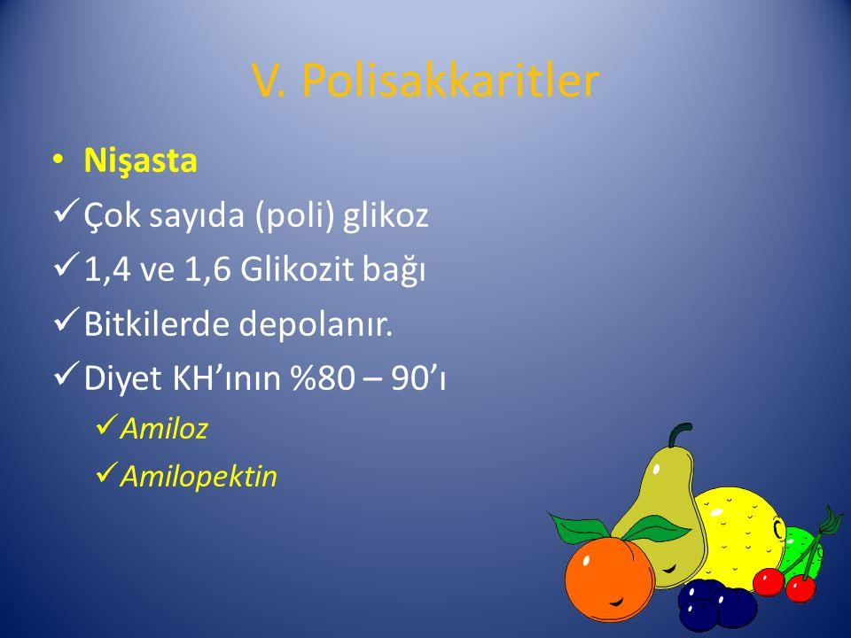 V. Polisakkaritler Nişasta Çok sayıda (poli) glikoz