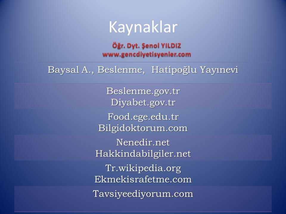 Baysal A., Beslenme, Hatipoğlu Yayınevi