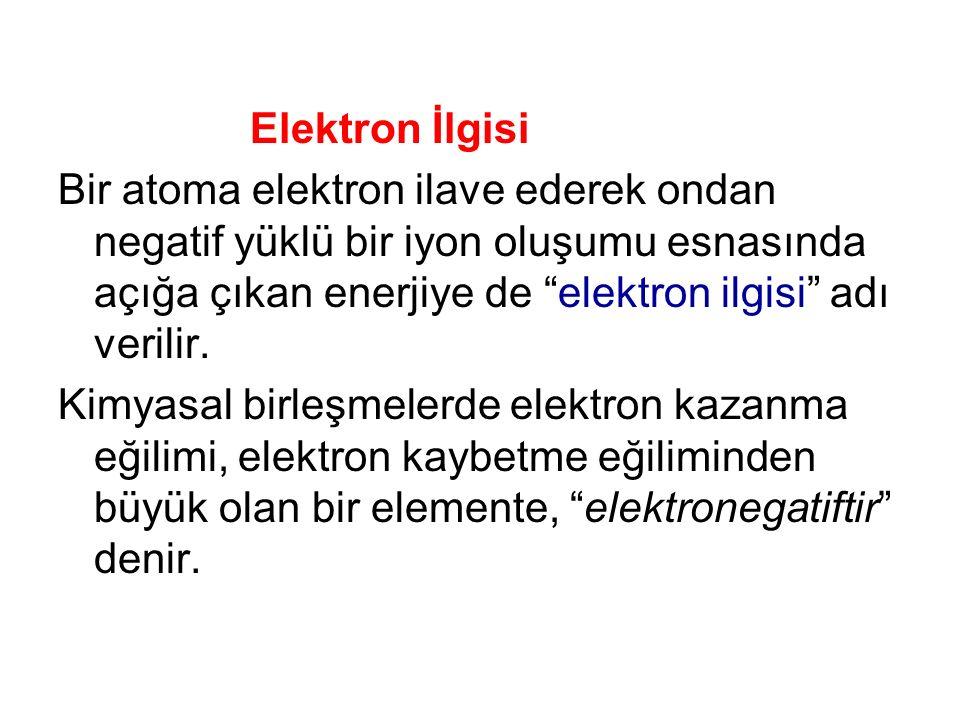 Elektron İlgisi Bir atoma elektron ilave ederek ondan negatif yüklü bir iyon oluşumu esnasında açığa çıkan enerjiye de elektron ilgisi adı verilir.