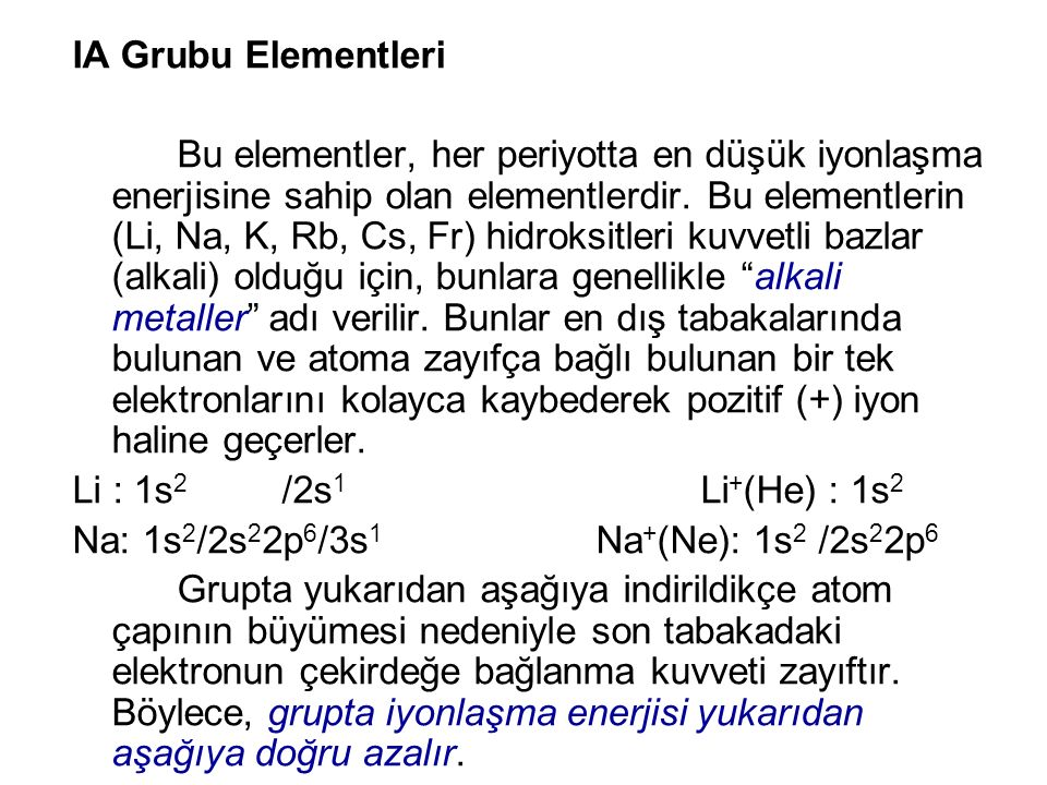 IA Grubu Elementleri