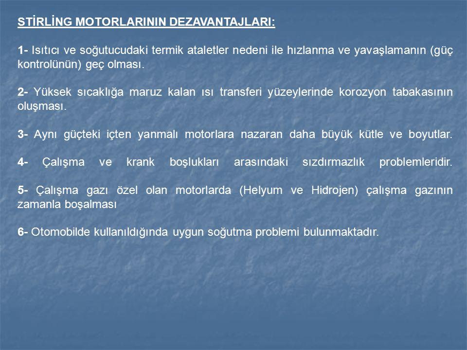 STİRLİNG MOTORLARININ DEZAVANTAJLARI: