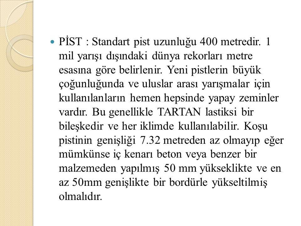 PİST : Standart pist uzunluğu 400 metredir