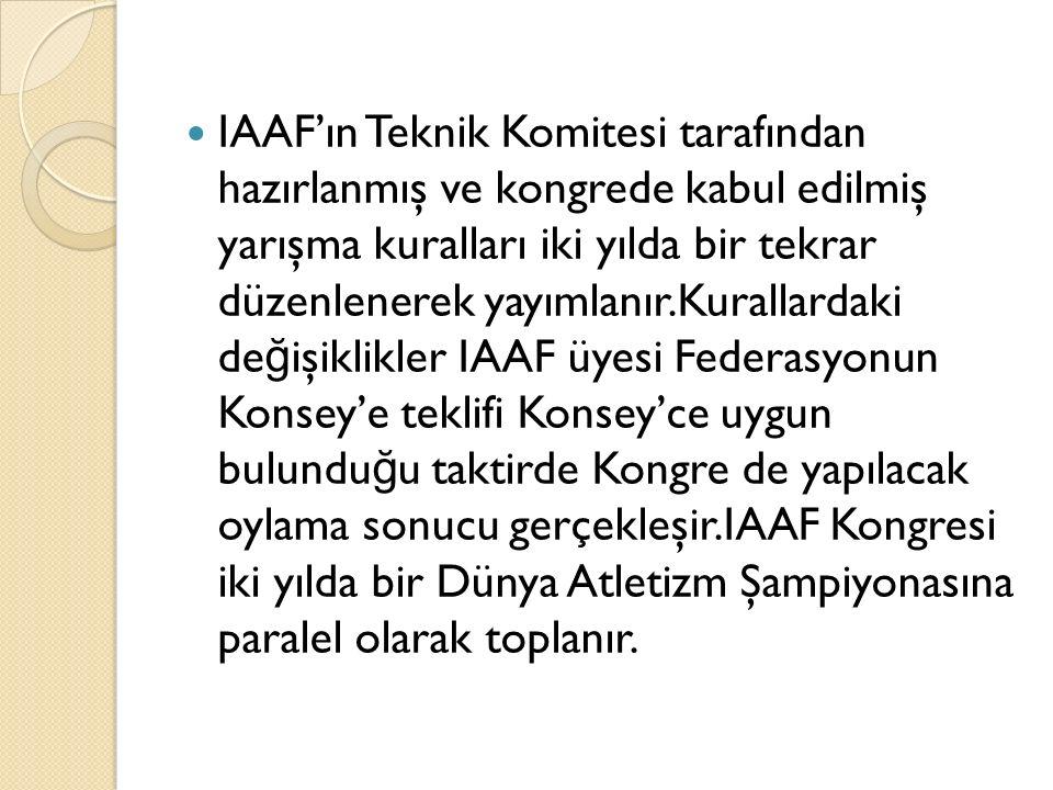 IAAF'ın Teknik Komitesi tarafından hazırlanmış ve kongrede kabul edilmiş yarışma kuralları iki yılda bir tekrar düzenlenerek yayımlanır.Kurallardaki değişiklikler IAAF üyesi Federasyonun Konsey'e teklifi Konsey'ce uygun bulunduğu taktirde Kongre de yapılacak oylama sonucu gerçekleşir.IAAF Kongresi iki yılda bir Dünya Atletizm Şampiyonasına paralel olarak toplanır.