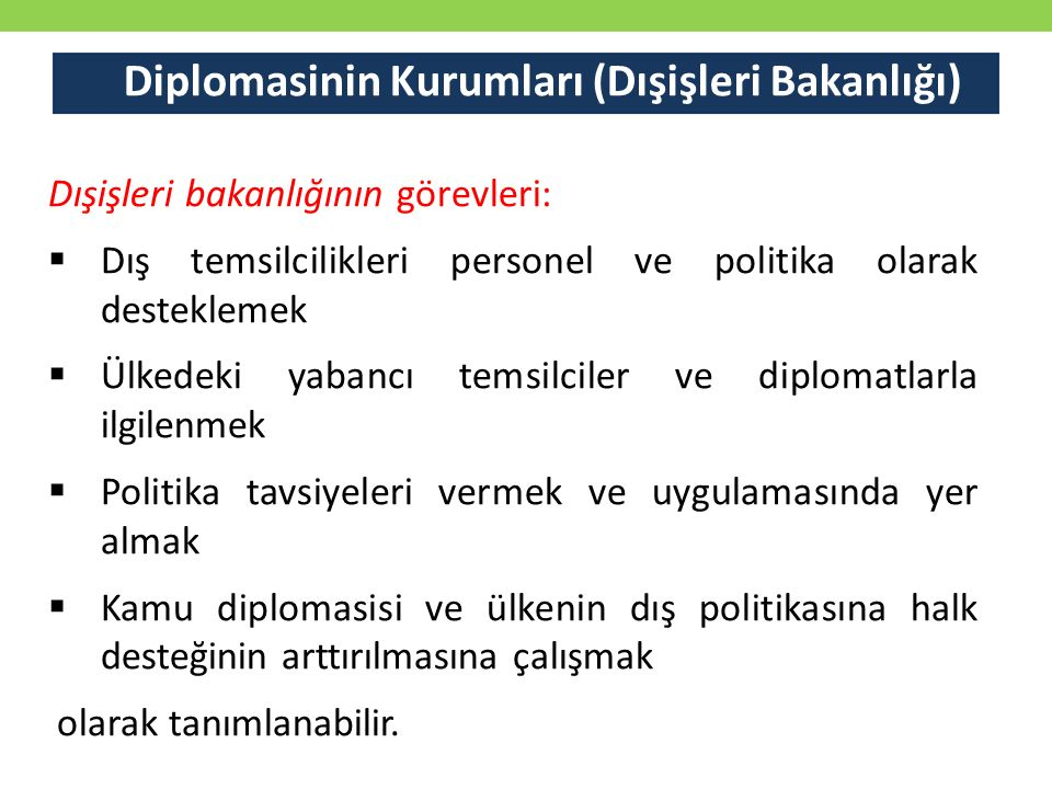 Diplomasinin Kurumları (Dışişleri Bakanlığı)