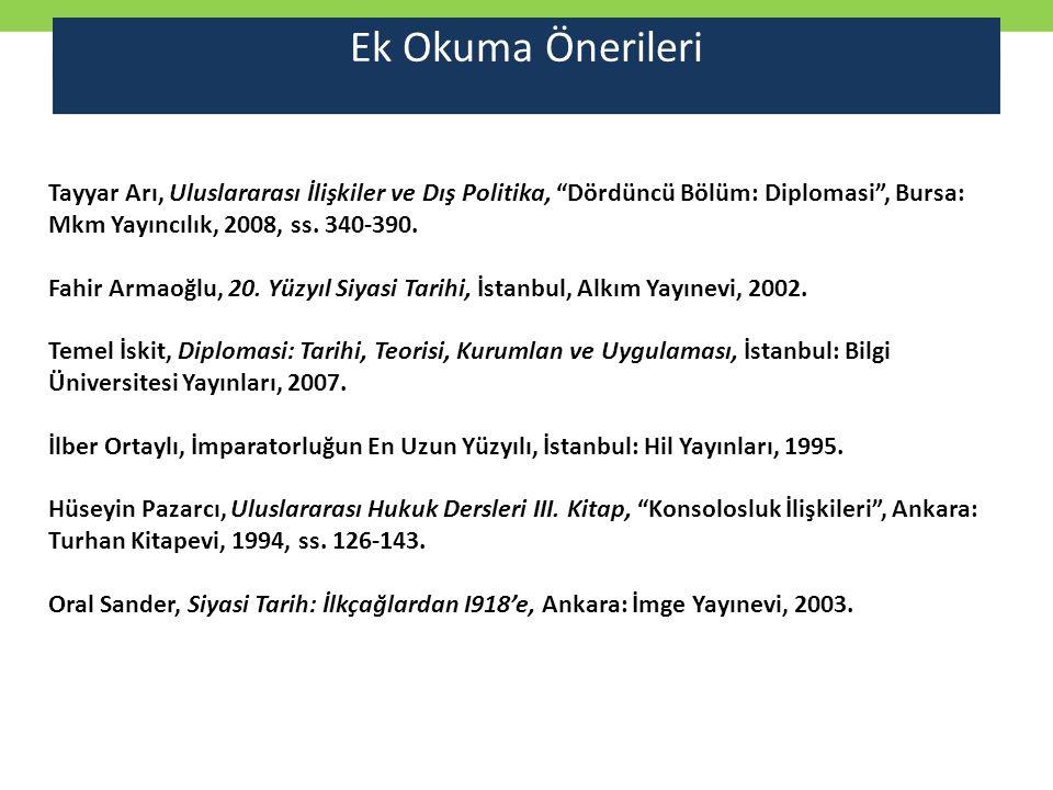 Ek Okuma Önerileri Tayyar Arı, Uluslararası İlişkiler ve Dış Politika, Dördüncü Bölüm: Diplomasi , Bursa: Mkm Yayıncılık, 2008, ss. 340-390.