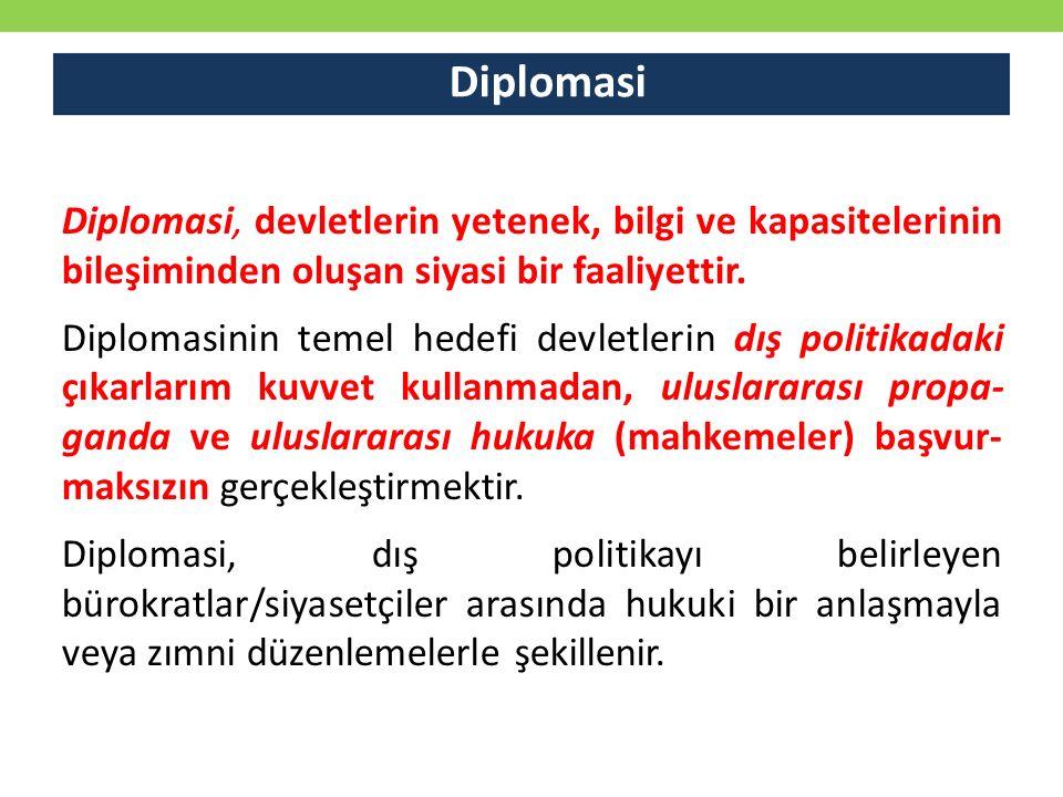 Diplomasi Diplomasi, devletlerin yetenek, bilgi ve kapasitelerinin bileşiminden oluşan siyasi bir faaliyettir.