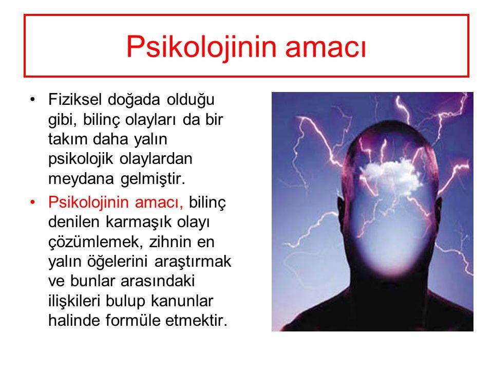 Psikolojinin amacı Fiziksel doğada olduğu gibi, bilinç olayları da bir takım daha yalın psikolojik olaylardan meydana gelmiştir.
