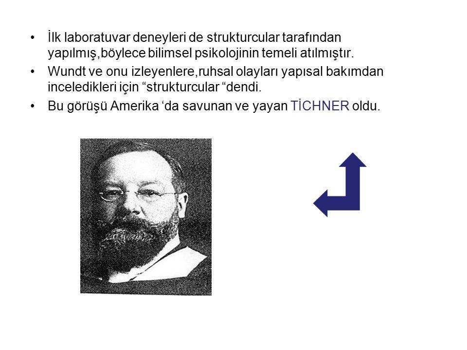 İlk laboratuvar deneyleri de strukturcular tarafından yapılmış,böylece bilimsel psikolojinin temeli atılmıştır.