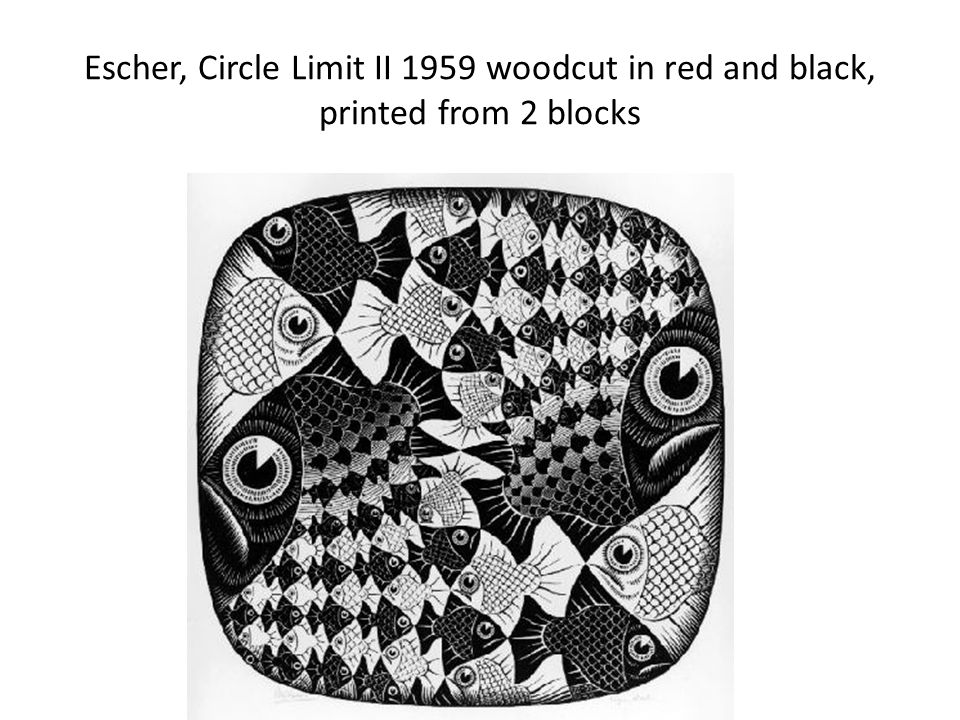 Escher, Circle Limit II 1959 woodcut in red and black, printed from 2 blocks