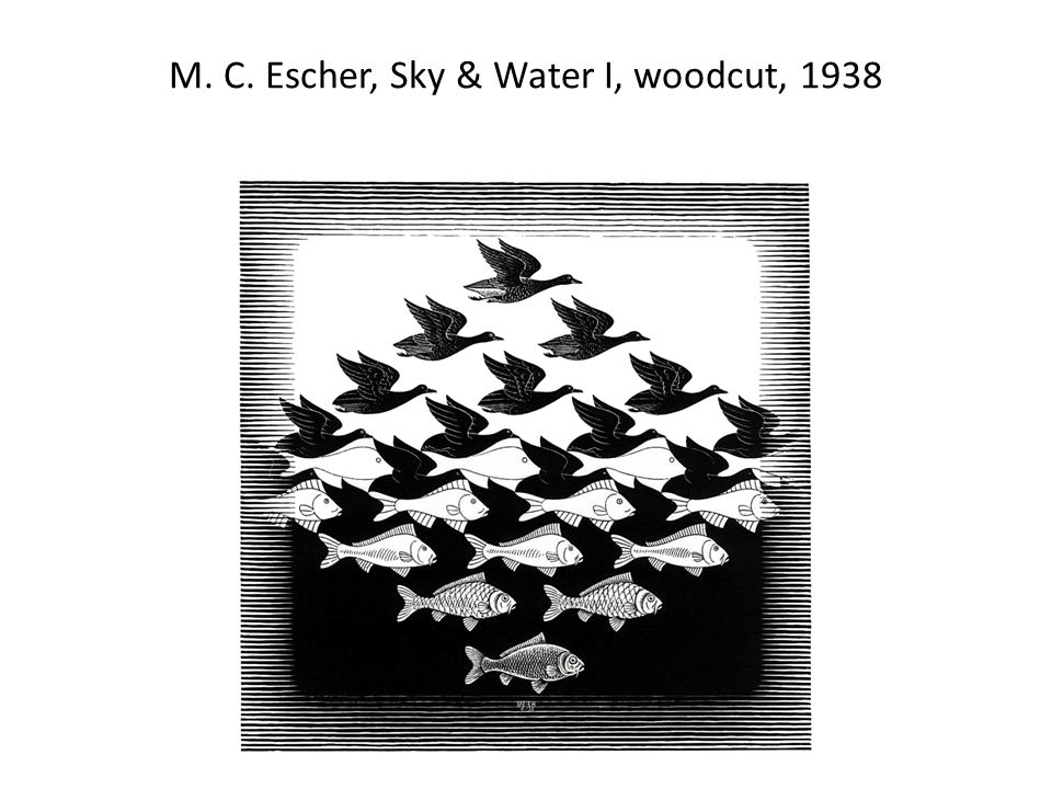 M. C. Escher, Sky & Water I, woodcut, 1938