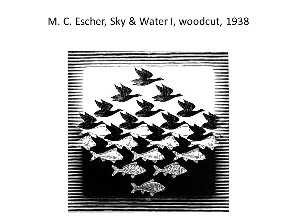 M. C. Escher, Sky & Water I, woodcut, 1938