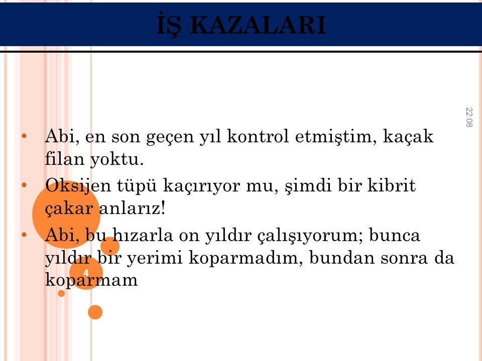İŞ KAZALARI Abi, en son geçen yıl kontrol etmiştim, kaçak filan yoktu.