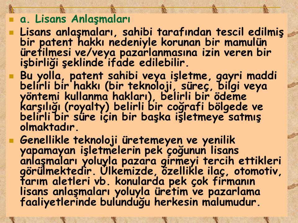 a. Lisans Anlaşmaları