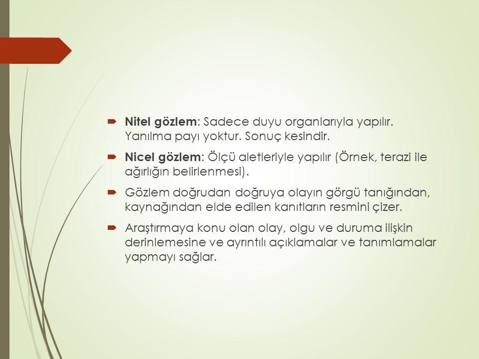 Nitel gözlem: Sadece duyu organlarıyla yapılır. Yanılma payı yoktur