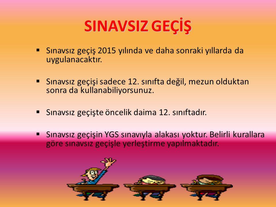 SINAVSIZ GEÇİŞ Sınavsız geçiş 2015 yılında ve daha sonraki yıllarda da uygulanacaktır.