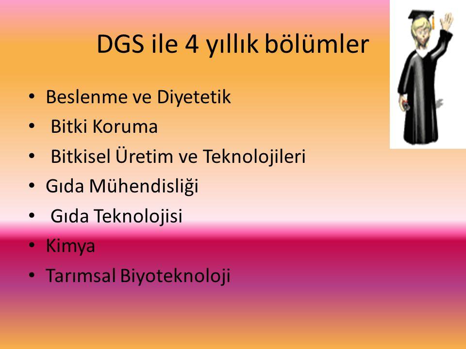 DGS ile 4 yıllık bölümler