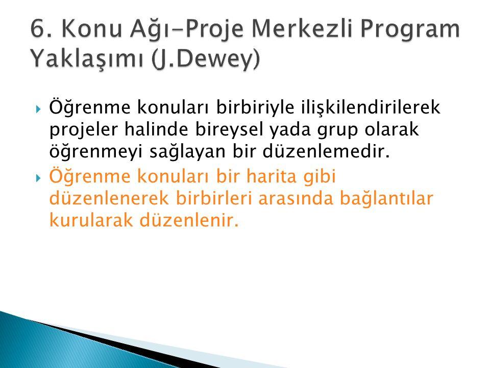 6. Konu Ağı-Proje Merkezli Program Yaklaşımı (J.Dewey)