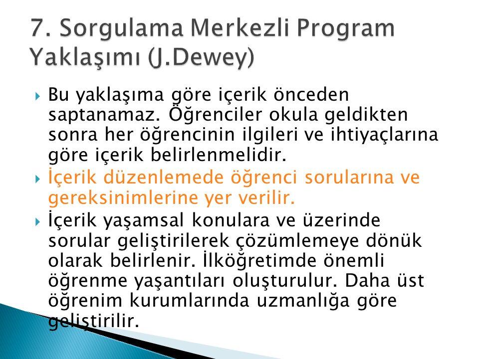 7. Sorgulama Merkezli Program Yaklaşımı (J.Dewey)