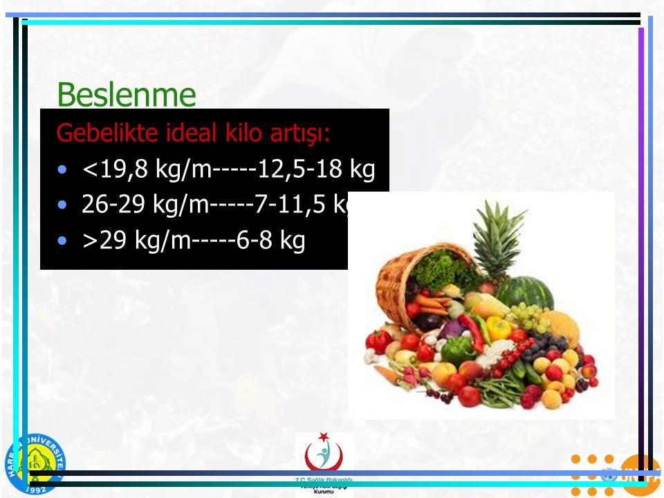 Beslenme Gebelikte ideal kilo artışı: <19,8 kg/m-----12,5-18 kg