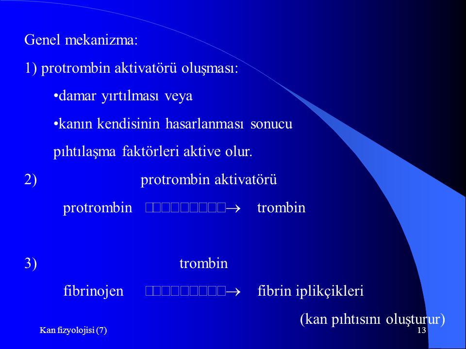 1) protrombin aktivatörü oluşması: damar yırtılması veya