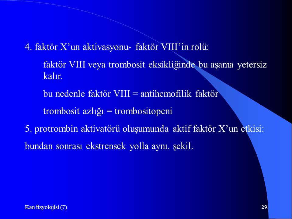 4. faktör X'un aktivasyonu- faktör VIII'in rolü: