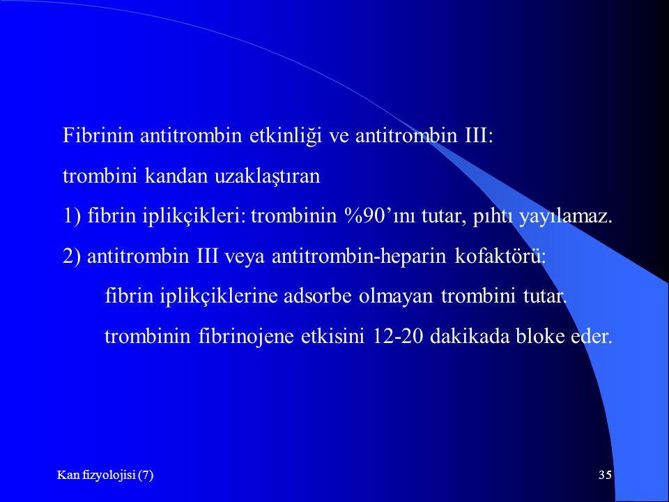 Fibrinin antitrombin etkinliği ve antitrombin III: