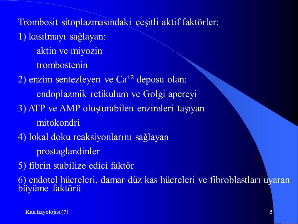 Trombosit sitoplazmasındaki çeşitli aktif faktörler: