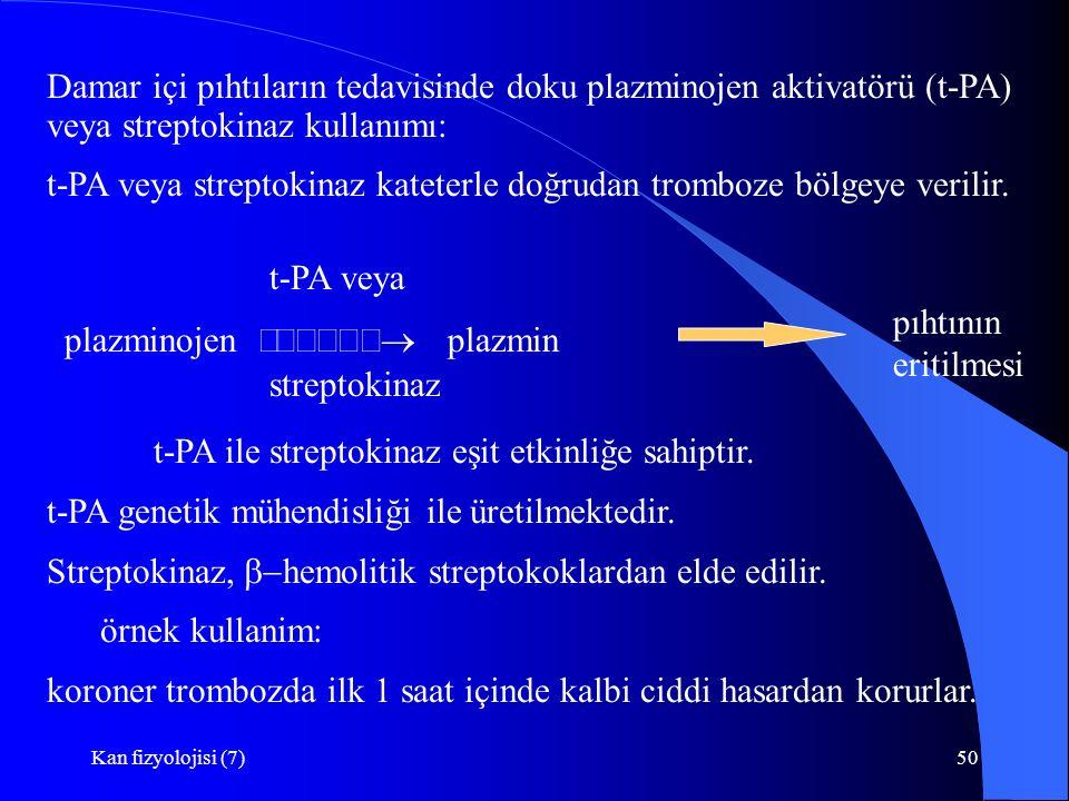 t-PA veya streptokinaz kateterle doğrudan tromboze bölgeye verilir.