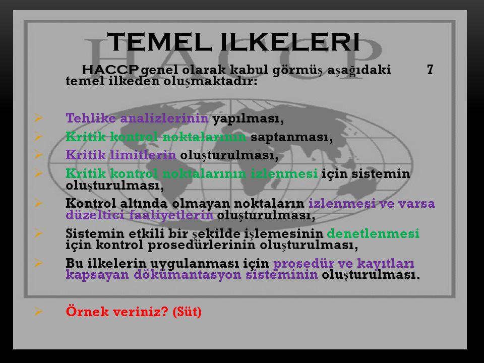 TEMEL ILKELERI HACCP genel olarak kabul görmüş aşağıdaki 7 temel ilkeden oluşmaktadır: Tehlike analizlerinin yapılması,