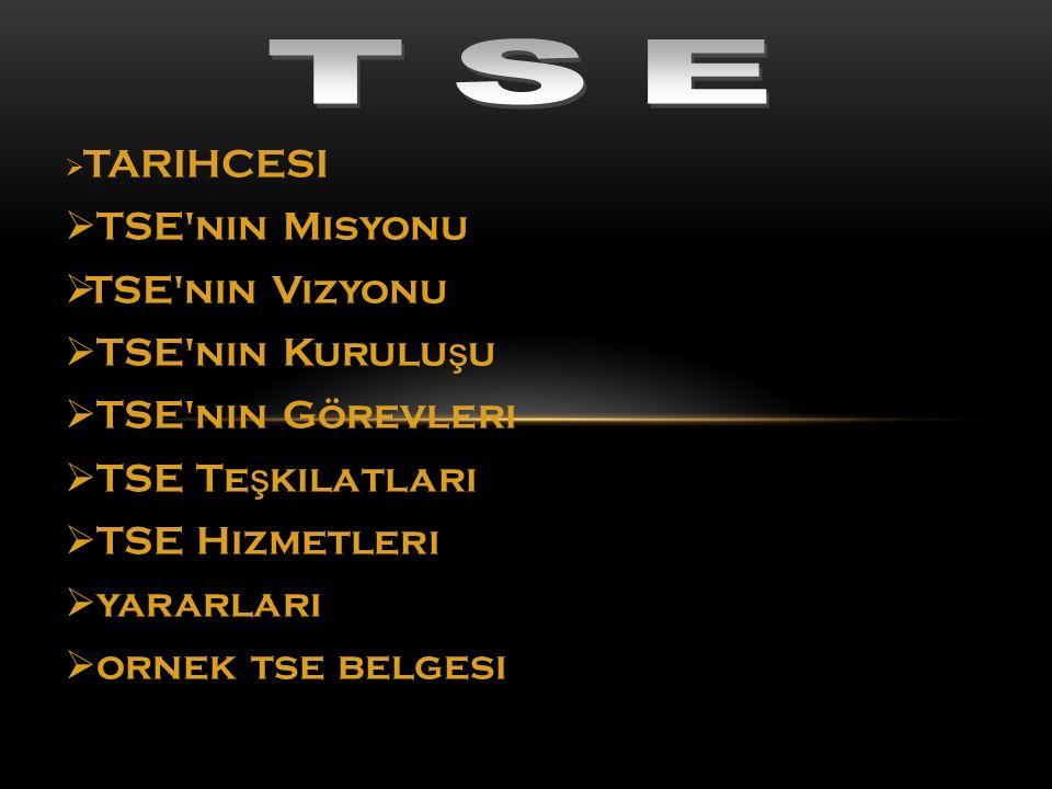 TSE TSE nin Misyonu TSE nin Vizyonu TSE nin Kuruluşu TSE nin Görevleri
