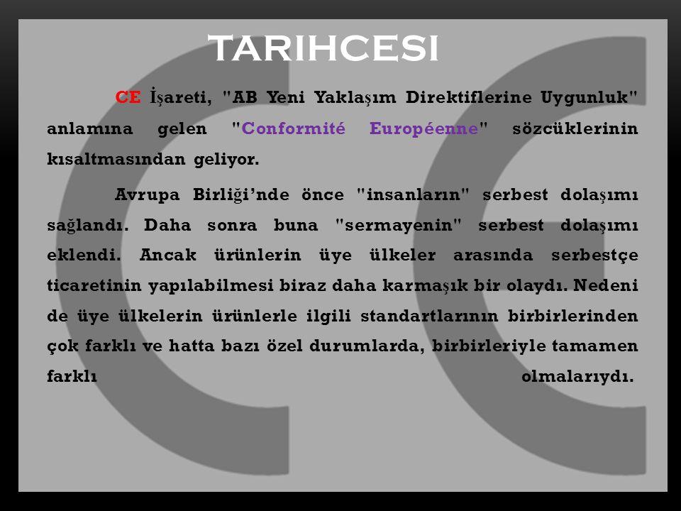 TARIHCESI CE İşareti, AB Yeni Yaklaşım Direktiflerine Uygunluk anlamına gelen Conformité Européenne sözcüklerinin kısaltmasından geliyor.
