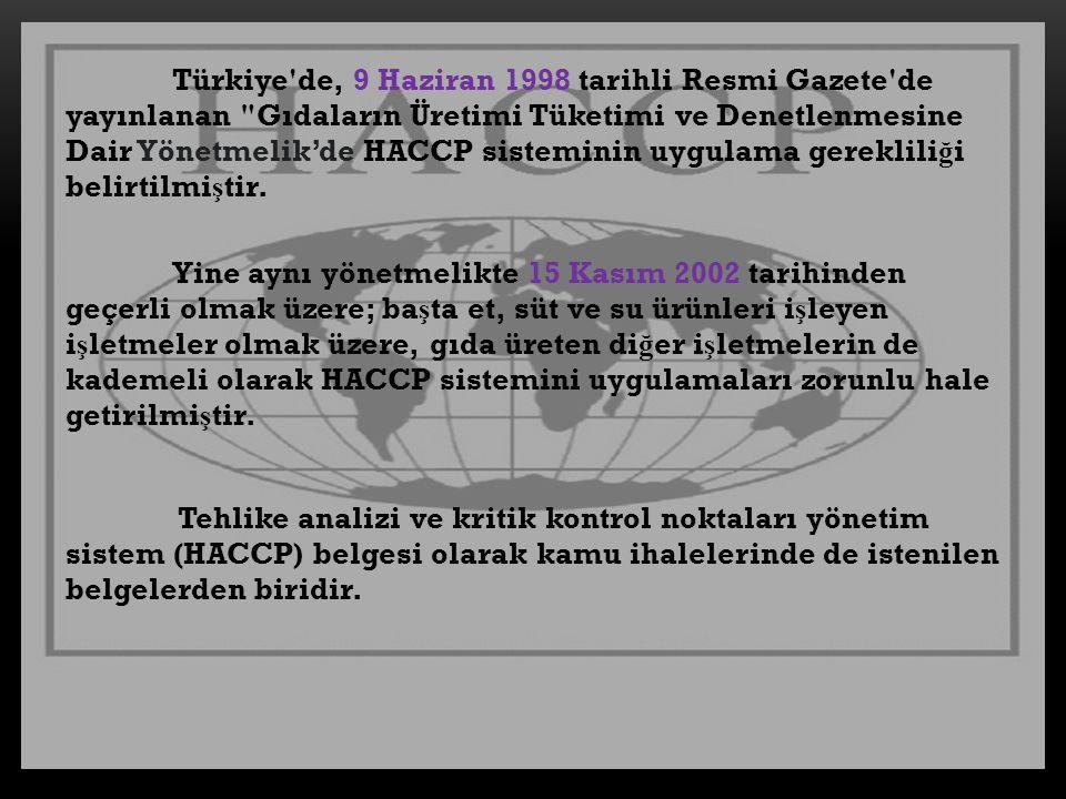 Türkiye de, 9 Haziran 1998 tarihli Resmi Gazete de yayınlanan Gıdaların Üretimi Tüketimi ve Denetlenmesine Dair Yönetmelik'de HACCP sisteminin uygulama gerekliliği belirtilmiştir.