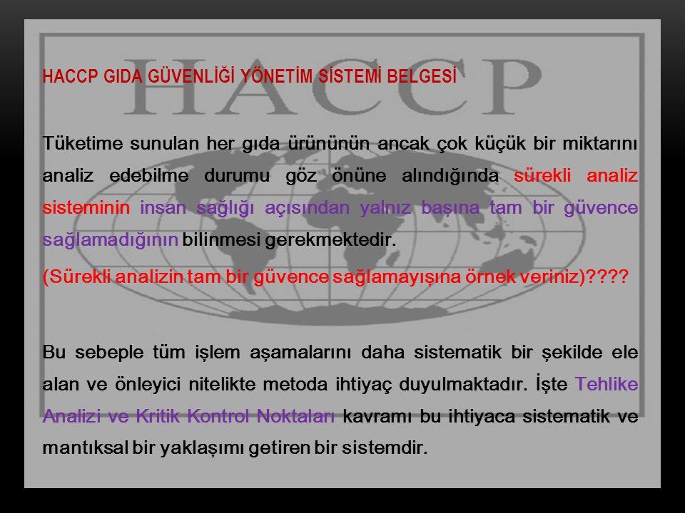 HACCP GIDA GÜVENLİĞİ YÖNETİM SİSTEMİ BELGESİ