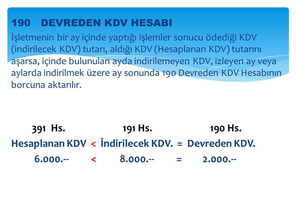 Hesaplanan KDV < İndirilecek KDV. = Devreden KDV.