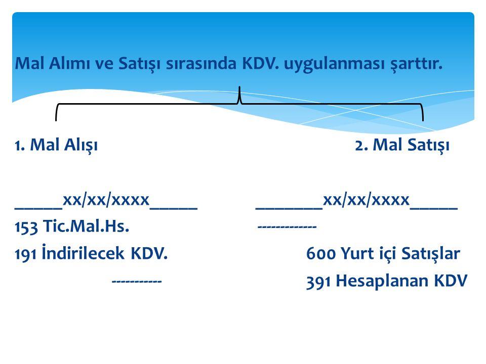 Mal Alımı ve Satışı sırasında KDV. uygulanması şarttır. 1. Mal Alışı 2