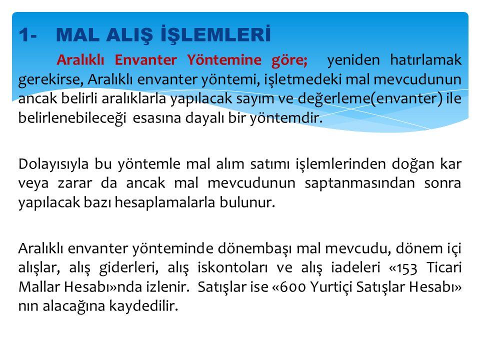 1- MAL ALIŞ İŞLEMLERİ