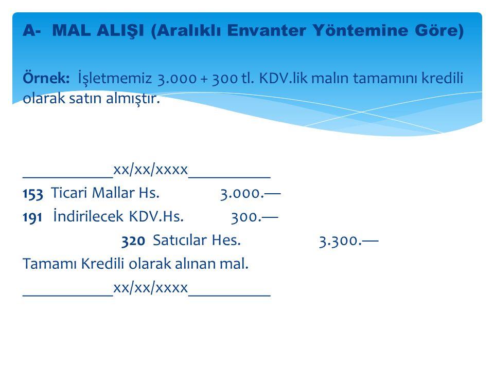 A- MAL ALIŞI (Aralıklı Envanter Yöntemine Göre) Örnek: İşletmemiz 3