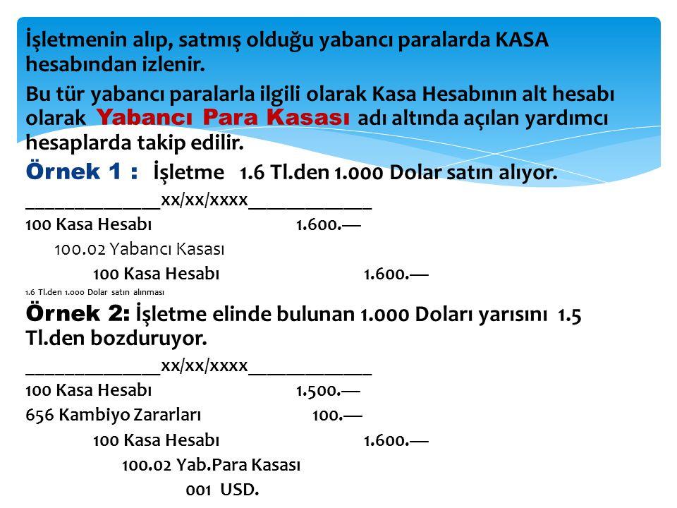 Örnek 1 : İşletme 1.6 Tl.den 1.000 Dolar satın alıyor.